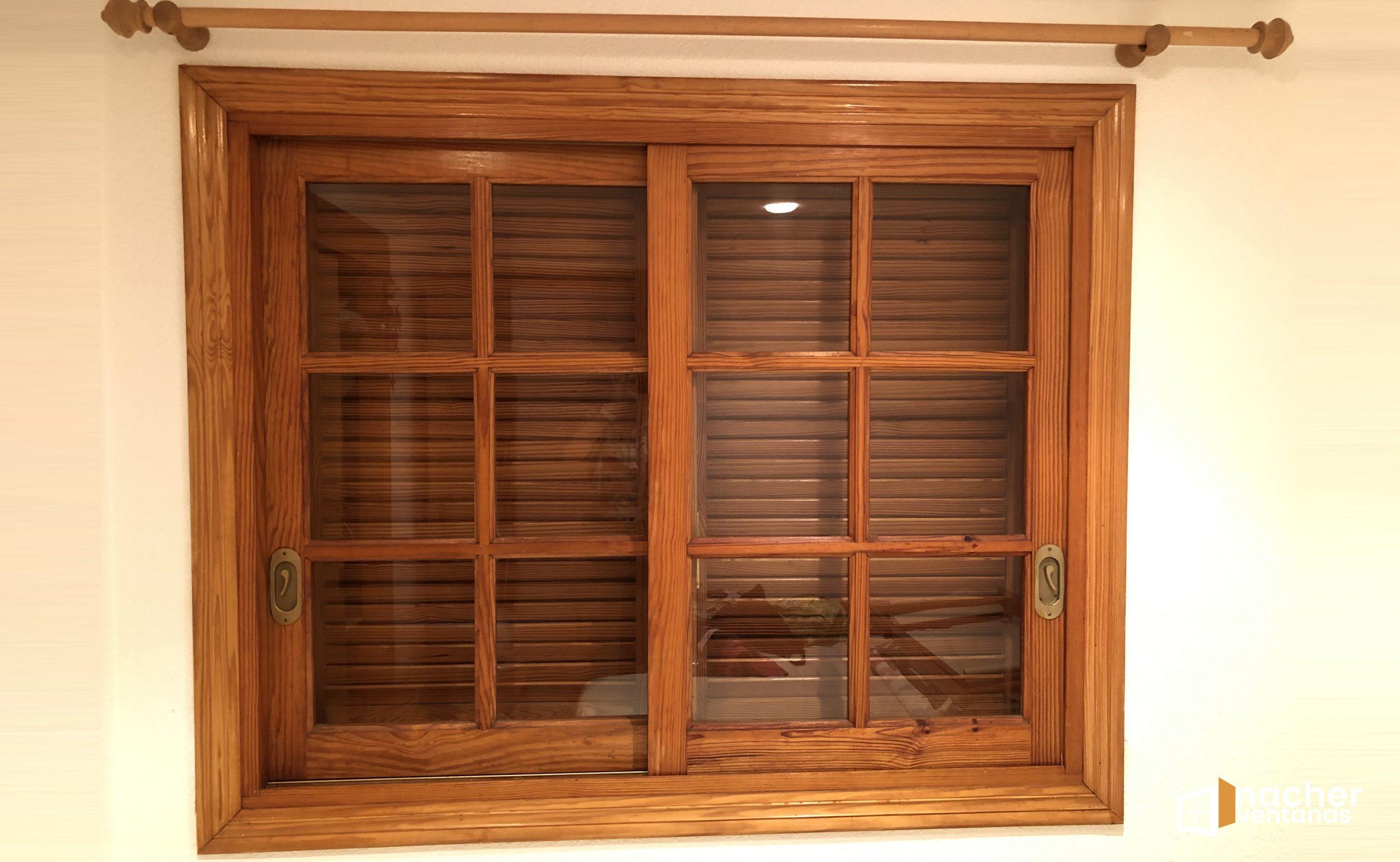 instalacion ventana de aluminio sobre de madera