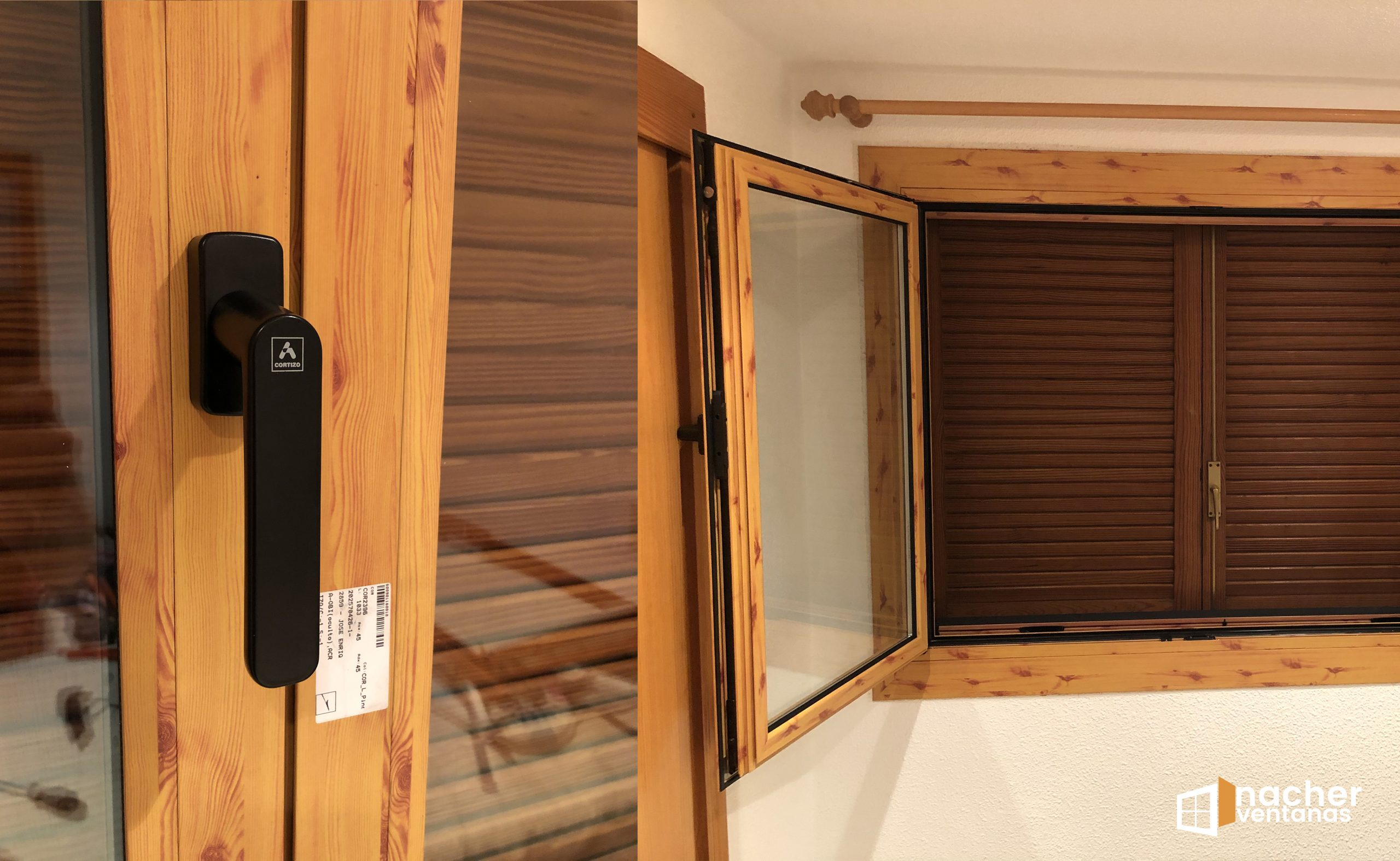ventana aluminio cortizo color pino liso